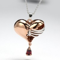 Broken Heart With Pear Stone Fashion Rib Necklace In Rose Gold Plated