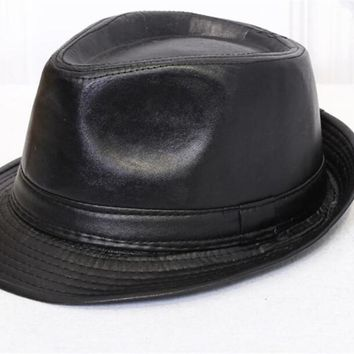 Unisex charm cowboy hats leather american, winter ladies vintage black hats for women fedora