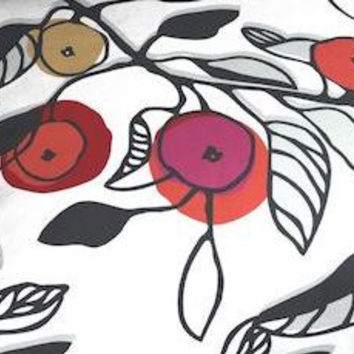 Christmas Tablecloth white black red golden flowers Modern Scandinavian Design , runner , napkins , pillow , curtains available,great GIFT