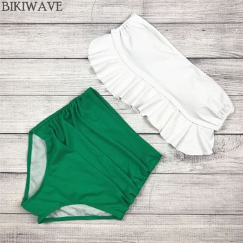 2018 High Waist Swimwear Bikini Vintage Retro Push Up Swimsuit Bathing Suit Green ruffle Beachwear