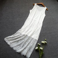 Summer Mori Girl Floral Embroidery Dress Women Clothing Sleeveless Sweet Lace Layer Hollow Out Lovely Harajuku Tank Dresses U515