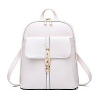 Famous Brand Backpack Women Backpacks Solid Quilting Bears Sew School Bags Bolsos Mujer White Leather Woman Backpack Travel bag