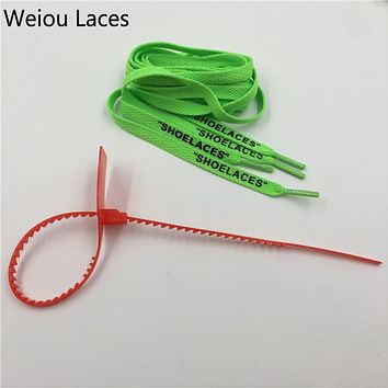 "Weiou Hot""SHOELACES"" Single Layer Flat Laces With Zip Tie For Replacement Off White ""The Ten"" Handmade Custom For Sneakers Boots"