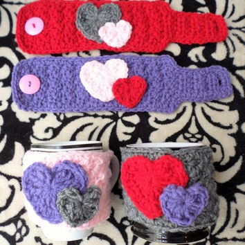Crochet Coffee Mug Cozy, Valentine's Day Gift, Mug Cozy, Crochet Hearts, Mug Warmer