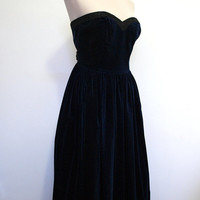 Blue velvet strapless evening gown / vintage prom dress with wide black sashes.