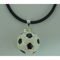 "Soccer Ball Necklace 18"" Leather Cord (Brand New)"