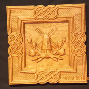 Dutch WindMill, Relief 3D Wood Carving, The Netherlands, wall art, wall hanging