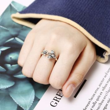 Chic Adjustable Open Ring Sexy Womens Cute Honey Bee And Flower Finger Ring Cool Elegant Jewelry For Women Shellhard