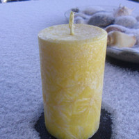 Yellow Smiley Small Pillar Candle by AMomentinParadise on Etsy
