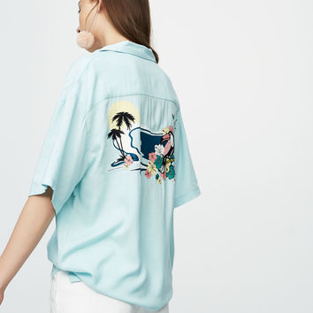 Short sleeve shirt with embroidered bird - New - Woman - PULL&BEAR United Kingdom