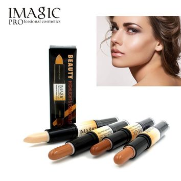 IMAGIC Makeup Creamy Double-ended 2in1 Contour Stick Contouring Highlighter Bronzer Create 3D Face  Concealer Full Cover Blemish