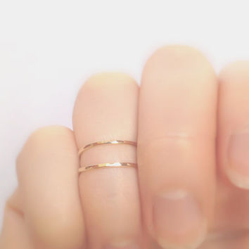 14k Gold Filled Simple Stacking Rings - Hammered Gold Midi Rings - Adjustable Gold Knuckle Ring Set