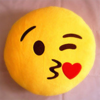 Emoji with a Kiss Emoticon Yellow Round Pillow