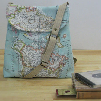 World Map Print Small  Diaper Bag ,Canvas Tote Bag , Small Messenger Bag,  Shoulder Bag ,Everyday Purse