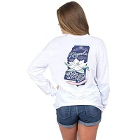 Mississippi Magnolia State Long Sleeve Tee in White by Lauren James