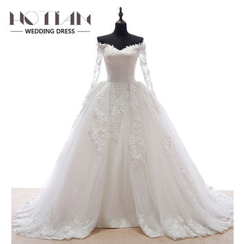2017 Handmade Bridal Dress Series Long Sleeve Ball Gown Princess Wedding Dresses For Church Lace Appliques Wedding Gowns