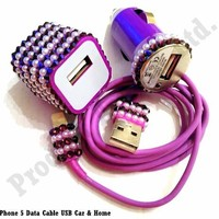Product Ace(TM) Brand RHINESTONE HANDWORK BLING 8pin Aftermarket 3 Pc UsB Data Cable, Car Adapter & Wall Adapter (Purple Circus)