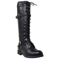 Womens Knee High Boots Combat Lace Up Buckle Block Heel Shoes Black