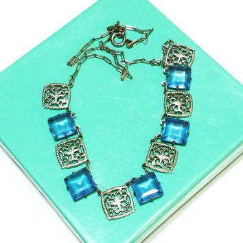 Vintage Art Deco Necklace, Rhodium Plated Silver Fiigree, Blue Open Back Stones, Paper Clip Chain, Wedding Jewelry, 1920s