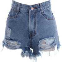 ROMWE | High Waist Broken Distressed Blue Shorts, The Latest Street Fashion