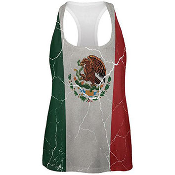 Cinco De Mayo Distressed Mexican Flag All Over Womens Work Out Tank Top