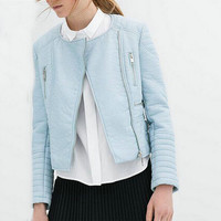 Faux Leather Zippered Jacket