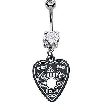 Black CZ Heart Ouija Dangle Belly Ring - 14 Gauge - Spencer's