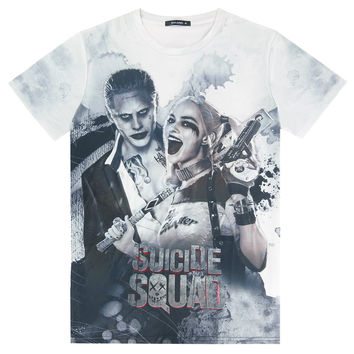Suicide Squad Mens Harley Quinn Joker 3D T Shirt Short Sleeve Clothes