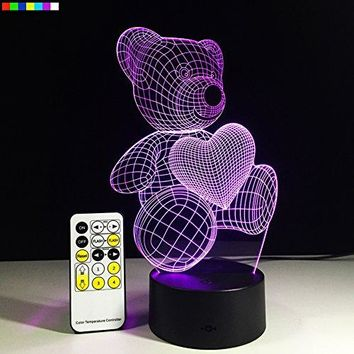 LED Night Lights for Kids Teddy Bear 7 Colors Change with Remote 3D Nightlight
