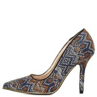 Tribal-Woven Pointed Toe Pumps