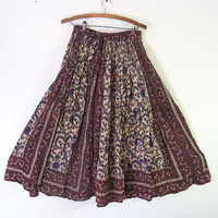 Vintage Boho purple floral Hippie Skirt One Size Fits Most