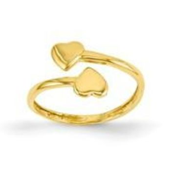 14k Yellow Gold Double Heart Toe Ring