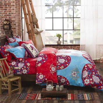PEAP78W Boho Bedding Set Floral Bed Linen Home Textiles Printed Duvet Cover Twin Queen couvre lit Direct Selling