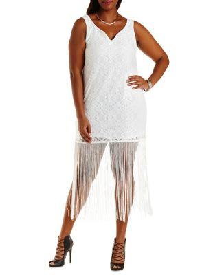6dd93e5c7eb60 Plus Size White Bodycon Lace Fringe Dress from Charlotte Russe