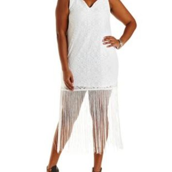 Plus Size White Bodycon Lace Fringe Dress by Charlotte Russe