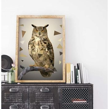 Geometric Owl Painting Poster Art Print Canvas