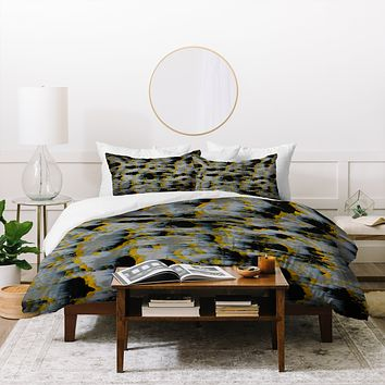 Caleb Troy Tossed Boulders Yellow Duvet Cover