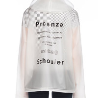 Proenza Schouler Snap-Front Care-Label Short Rain Coat w/ Hood and Matching Items