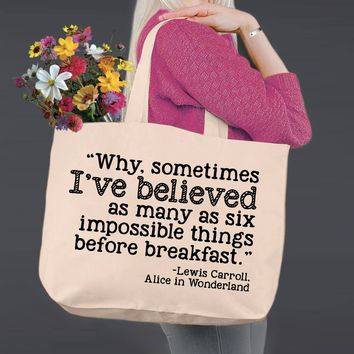 Impossible Things | Alice In Wonderland | Canvas Tote Bag