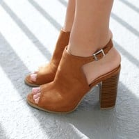 Stop And Stare Camel Suede Open Toe Booties