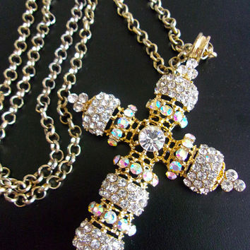 AB & Clear Rhinestone XLarge Gold Tone Cross Necklace, Long Rolo Chain, Vintage