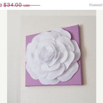 """MOTHERS DAY SALE Wall Art - White Rose on Lilac 12 x12"""" Canvas Wall Art - Nursery Wall Decor -"""