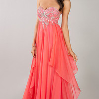 Floor Length Empire Waist Strapless Dress