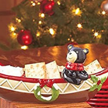Canoe Bear 2 Section Bowl Wreaths Holly Christmas Holiday2 Pc Spreader Set