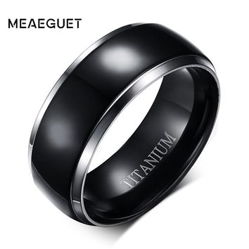 Meaeguet Classic 100% Titanium Wedding Rings For Men Black Rock Metal Rings 8MM Wide Engagement Accessories Anel Jewelry
