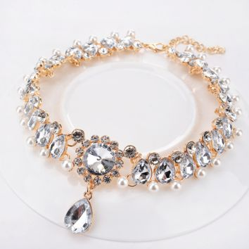 Ladies Thick Chain Necklaces - Artificial Pearl, Rhinestone Drop Damas, Fashionable Gold 35cm Fashionable Necklaces Jewelry 1pc For Wedding