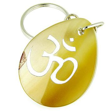 Lucky Om Symbol Wish Stone Natural Agate Gemstone Keychain
