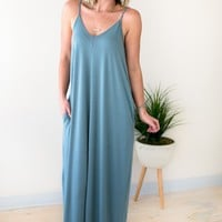 Temperature Rising Tank Maxi Dress - Blue