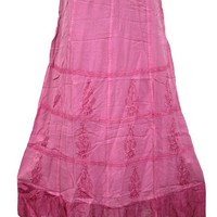 Womans Maxi Skirt Pink Stonewashed Rayon Embroidered Peasant Long Skirts: Amazon.ca: Clothing & Accessories