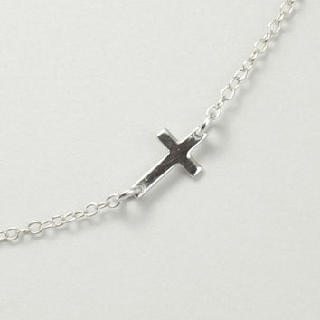 Sideways Cross Necklace, Tiny Sideways Cross, Sterling Silver Cross, Kardashian, Offset Cross Necklace, Silver Necklace, Wedding Jewelry